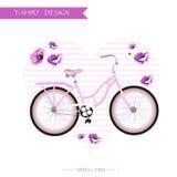 Ποδήλατο άνοιξη, υπόβαθρο λουλουδιών Απεικόνιση αποθεμάτων