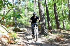 Ποδήλατο άσκησης νεαρών άνδρων moutain στο δάσος Στοκ Φωτογραφία