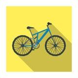 Ποδήλατο βουνών Να ανακυκλώσει προς τα κάτω από τα βουνά Διαφορετικό ενιαίο εικονίδιο ποδηλάτων στο επίπεδο απόθεμα συμβόλων ύφου απεικόνιση αποθεμάτων