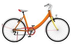Ποδήλατο γυναικείου αθλητισμού που απομονώνεται πορτοκαλί στο λευκό ελεύθερη απεικόνιση δικαιώματος