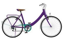 Ποδήλατο γυναικείου πορφυρό αστικό αθλητισμού απεικόνιση αποθεμάτων