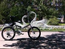 Ποδήλατο και κύκνοι Στοκ φωτογραφία με δικαίωμα ελεύθερης χρήσης