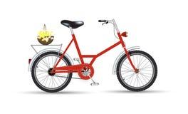 Ποδήλατο με το σχέδιο εικονιδίων λουλουδιών που απομονώνεται Στοκ εικόνα με δικαίωμα ελεύθερης χρήσης
