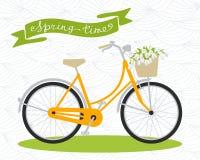 ποδήλατο Ο χρόνος άνοιξη… αυξήθηκε φύλλα, φυσική ανασκόπηση Στοκ Εικόνες