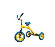Ποδήλατο του κίτρινου παιδιού που απομονώνεται Στοκ Φωτογραφία