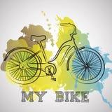 Ποδήλατο Watercolor, πράσινος, μπλε παφλασμός χρώματος Στοκ Εικόνες