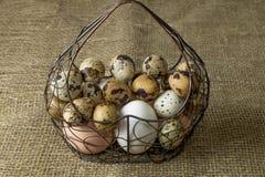 Πολλή δομή μετάλλων αυγών κοτόπουλου και αυγών ορτυκιών με μορφή μιας καρδιάς που βρίσκεται σε έναν ξύλινο πίνακα στοκ εικόνες με δικαίωμα ελεύθερης χρήσης