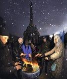 Πολίτες στη συνεδρίαση Maidan Στοκ Εικόνα