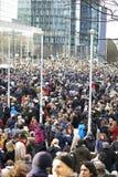 Πολίτης που περπατά στις Βρυξέλλες την Κυριακή 11 Ιανουαρίου 2015 Στοκ Φωτογραφίες