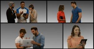 Πολλαπλάσια οθόνη που παρουσιάζει ανθρώπους που χρησιμοποιούν την ψηφιακά ταμπλέτα και το lap-top φιλμ μικρού μήκους