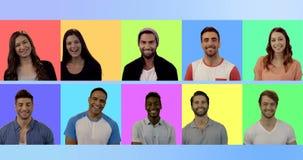 Πολλαπλάσια οθόνη που παρουσιάζει ευτυχές χαμόγελο ανθρώπων απόθεμα βίντεο