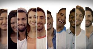 Πολλαπλάσια οθόνη που παρουσιάζει ευτυχείς ανθρώπους απόθεμα βίντεο