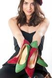 Πολλαπλάσια παπούτσια εκμετάλλευσης γυναικών Στοκ εικόνες με δικαίωμα ελεύθερης χρήσης