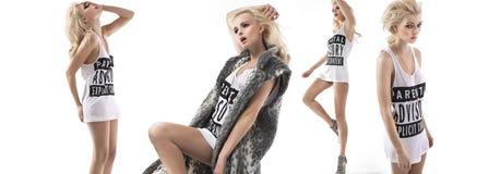 Πολλαπλάσια φωτογραφία ύφους μόδας ενός κοριτσιού στοκ εικόνες