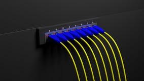 Πολλαπλάσιο βούλωμα δικτύων με τα καλώδια Στοκ φωτογραφία με δικαίωμα ελεύθερης χρήσης