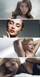 Πολλαπλάσιο πορτρέτο τεσσάρων ελκυστικών κυριών Στοκ φωτογραφίες με δικαίωμα ελεύθερης χρήσης