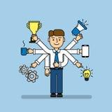 Πολλαπλών καθηκόντων επιχειρηματίας διανυσματική απεικόνιση