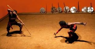 Πολεμική τέχνη Kalaripayattu στο Κεράλα, νότια Ινδία Στοκ φωτογραφία με δικαίωμα ελεύθερης χρήσης