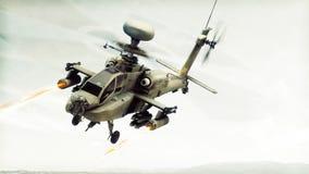 Πολεμικό σκάφος ελικοπτέρων τόξων Apache επίθεσης που δεσμεύει έναν στόχο που βάζει φωτιά στους πυραύλους του Στοκ φωτογραφίες με δικαίωμα ελεύθερης χρήσης