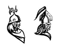 πολεμιστής Επικεφαλής του βαρβάρου Σχεδιάγραμμα του πολεμιστή Στοκ εικόνα με δικαίωμα ελεύθερης χρήσης