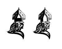 πολεμιστής Επικεφαλής του βαρβάρου Σχεδιάγραμμα του πολεμιστή Στοκ Εικόνα