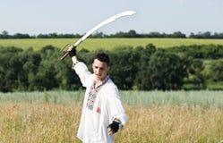 Πολεμιστής με saber Στοκ Εικόνες