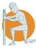 Πολεμιστής που γονατίζει με το ξίφος Στοκ Εικόνα