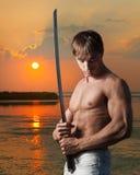 Πολεμιστής στο ηλιοβασίλεμα στοκ φωτογραφία