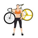 Ποδηλάτες και σταθερό ποδήλατο εργαλείων Στοκ Φωτογραφία