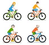 Ποδηλάτες που οδηγούν το σύνολο ποδηλάτων Στοκ εικόνα με δικαίωμα ελεύθερης χρήσης