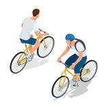 Ποδηλάτες στα ποδήλατα Άνθρωποι που οδηγούν τα ποδήλατα Ποδηλάτες και Αθλητισμός και άσκηση Επίπεδη τρισδιάστατη διανυσματική iso απεικόνιση αποθεμάτων