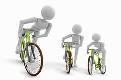 Ποδηλάτης σε τρεις γωνίες διανυσματική απεικόνιση