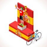 Ποδηλατών Vuelta τρισδιάστατη διανυσματική απεικόνιση ανθρώπων νικητών Isometric ελεύθερη απεικόνιση δικαιώματος