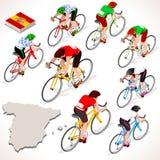 Ποδηλατών Vuelta Espana Isometric ανθρώπων ομάδα ποδηλατών της Ισπανίας συναγωνιμένος απεικόνιση αποθεμάτων