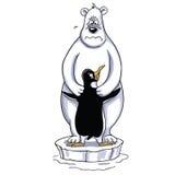 Πολική αρκούδα που αγκαλιάζει τα κινούμενα σχέδια Penguin, λυπημένη πολική σκηνή Στοκ Εικόνα
