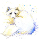 Πολική γραφική παράσταση μπλουζών αλεπούδων, πολική απεικόνιση αλεπούδων με το κατασκευασμένο υπόβαθρο watercolor παφλασμών διανυσματική απεικόνιση