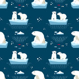 Πολικό άνευ ραφής σχέδιο teddy-αρκούδων Στοκ εικόνες με δικαίωμα ελεύθερης χρήσης