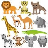 πολικό καθορισμένο διάνυσμα καρδιών κινούμενων σχεδίων αφρικανικά ζώα Στοκ Εικόνα