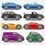 πολικό καθορισμένο διάνυσμα καρδιών κινούμενων σχεδίων Εικονίδια αυτοκινήτων Στοκ Εικόνες