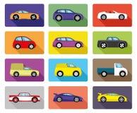 πολικό καθορισμένο διάνυσμα καρδιών κινούμενων σχεδίων Εικονίδια αυτοκινήτων Στοκ φωτογραφίες με δικαίωμα ελεύθερης χρήσης