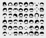 πολικό καθορισμένο διάνυσμα καρδιών κινούμενων σχεδίων τρίχα, mustache, γενειάδα διανυσματική απεικόνιση