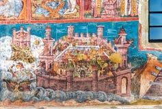 Πολιορκία Κωνσταντινούπολης frescoe στον τοίχο Moldovita στοκ φωτογραφία με δικαίωμα ελεύθερης χρήσης