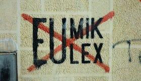 Πολιτικά γκράφιτι σε Κόσοβο Στοκ Φωτογραφίες