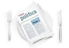 Πολιτική ειδήσεων tablewares Στοκ Φωτογραφίες