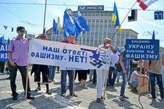 Πολιτική συνεδρίαση ενάντια στο φασισμό στο Κίεβο, Ουκρανία, Στοκ Φωτογραφία