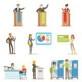 Πολιτικοί υποψήφιοι και σειρές διαδικασίας ψηφοφορίας απεικονίσεων Themed δημοκρατικών εκλογών απεικόνιση αποθεμάτων