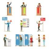 Πολιτικοί υποψήφιοι και σύνολο διαδικασίας ψηφοφορίας απεικονίσεων Themed δημοκρατικών εκλογών ελεύθερη απεικόνιση δικαιώματος