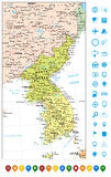 Πολιτικοί χάρτης χερσονήσων της Κορέας και δείκτες χαρτών, χάρτης του Βορρά Στοκ Εικόνες