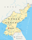 Πολιτικός χάρτης Βόρεια Κορεών απεικόνιση αποθεμάτων