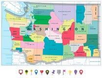 Πολιτικός χάρτης πολιτεία της Washington και επίπεδο σύνολο εικονιδίων Στοκ Εικόνα